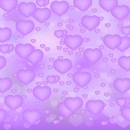 Ultra violet hearts 3d background. Valentine's day shiny greeting card. Romantic vector illustration. Easy to edit design template for your artworks.