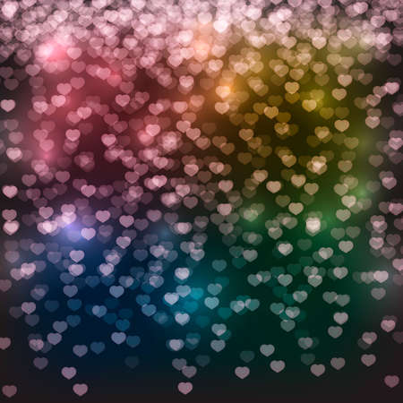 Falling hearts confetti on a dark background. Valentine's day bright greeting card backdrop. Vector illustration. Easy to edit design template for your artworks.
