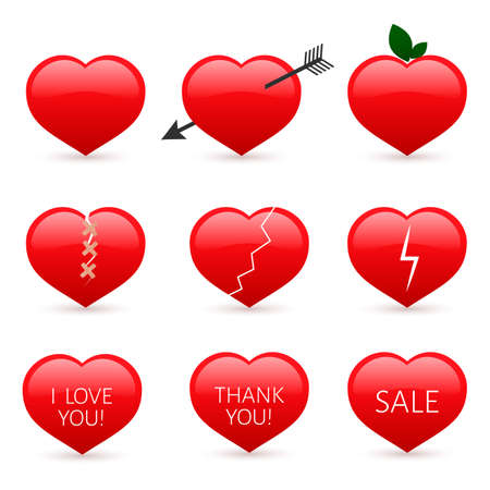 Set of nine red hearts icons isolated on white background. Valentine's day vector collection. Love story symbol. Easy to edit design template for your artworks. Illustration