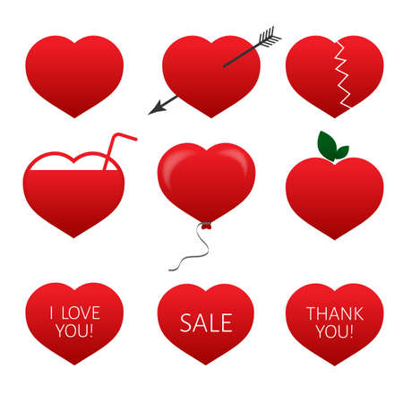 Set of nine red hearts. Flat icons isolated on white background. Valentine's day vector collection. Love story symbol. Health medical theme. Easy to edit design template for your artworks.