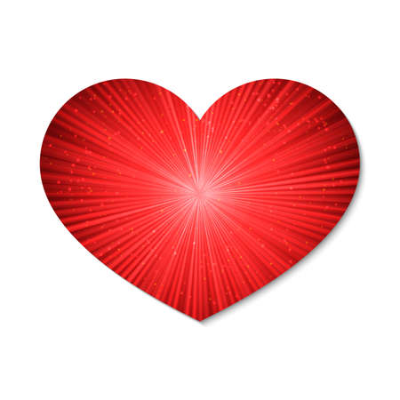 Glowing heart with the rays of light. Isolated on white background. Valentine's day retro vector illustration. Love story symbol. Easy to edit design template for your artworks.