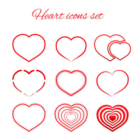 Set of nine red hearts flat icon isolated on white background.  Valentine's day vector collection. Love story symbol. Health medical theme. Easy to edit design template for your artworks.