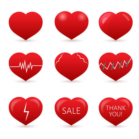 Set of nine red hearts isolated on white background. . Valentine's day vector collection. Love story symbol. Health medical flat icon. Easy to edit design template for your artworks.