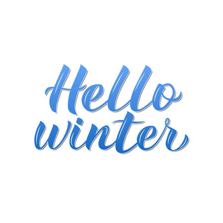 Hello Winter 3d calligraphy lettering isolated on white. Quote hand written with brush. Typography poster. Easy to edit vector template for banner, sign, greeting card, t-short, mug etc.
