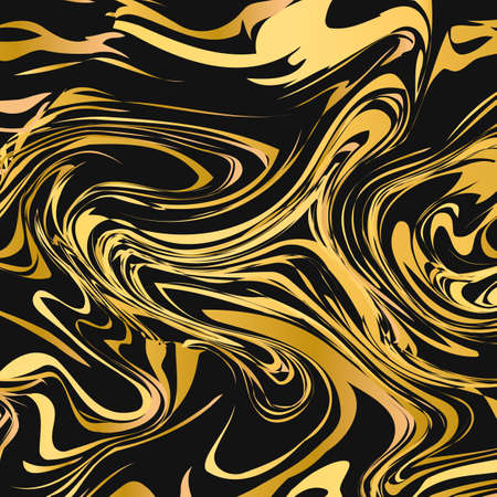 Black and gold marble texture abstract background. Liquid flow effect backdrop. Watercolor stains painting. Marbling surface vector illustration. Easy to edit template for your design projects.