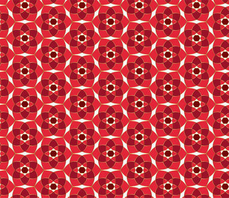 Oriental ornament. Christmas seamless lace pattern. Geometric mosaic background Red and gold kaleidoscope. Easy to use vector design template for greeting cards, fabric, wrap, wallpapers, etc