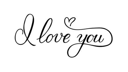I love you calligraphy hand lettering with heart. Valentine's day postcard. Romantic typography poster. Vector illustration. Easy to edit template for t-shots, mugs, banners, etc.