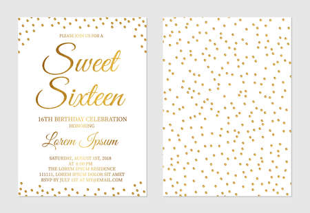 Gold glitter confetti Sweet Sixteen invitation card front and back side. Golden polka dots girl's 16th birthday party invite flyer. Easy to edit vector template.