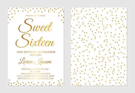 Goldglitter Konfetti Sweet Sixteen Einladungskarte Vorder- und Rückseite. 16. Geburtstags-Party des goldenen Tupfenmädchens laden Flyer ein. Einfach zu bearbeitende Vektorvorlage. Vektorgrafik