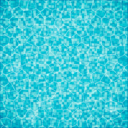 Swimming pool background. Top view of water surface with waves and sun glare on it. Blue tiled bottom. Summer vacation vector illustration. Easy to edit template for your artworks.