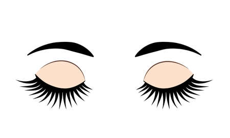 Closed eyes with long eyelashes and eyebrows. Eye flat icon isolated on white. Vector illustration. Easy to edit template for beauty salons, makeup and brow artists, eyelash extension service, etc.