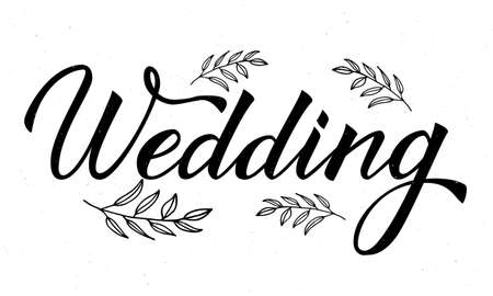 Hand drawn word Wedding with floral elements on white. Calligraphy lettering. Easy to edit vector template for invitation, save the date cards, reception banners and decorations.