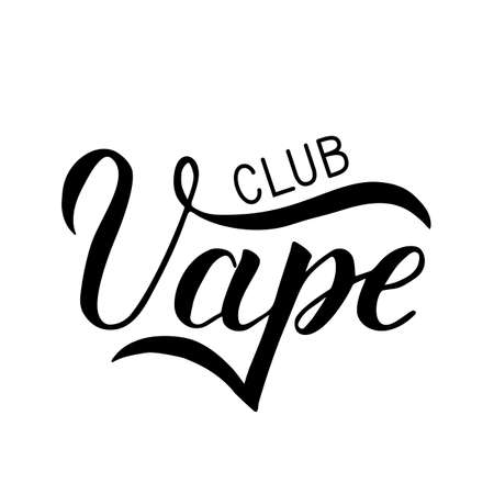 Vape Club hand written isolated on white background. Calligraphy lettering. Minimalist logo for vaping club, store or bar. Vector illustration. Easy to edit template for your design.