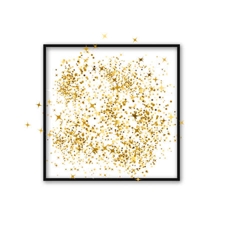 Gold confetti in a frame. Luxury vector background. Golden dust effect. Easy to edit template for invitations, cards, party decorations, wedding stationery etc.
