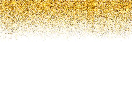 Spadające złote konfetti granicy na białym tle. Złote kropki pył tło wektor. Efekt tekstury złoty brokat. Łatwy do edycji szablon zaproszeń, kartek, dekoracji imprezowych, papeterii ślubnej.