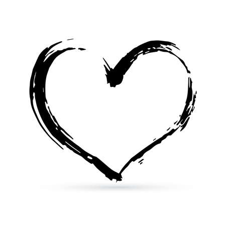 Hand drown heart. Black textured brush stroke. Grunge shape of heart. Valentines day sign. Love symbol. Easy to edit vector element of design.