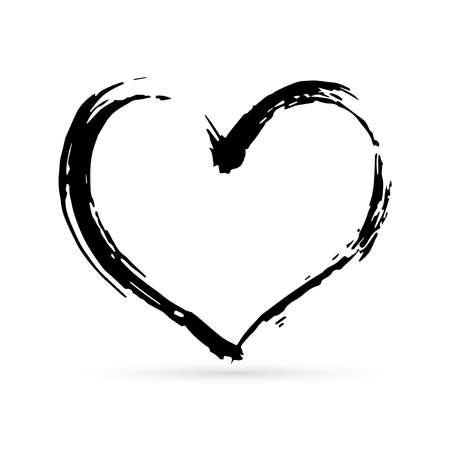 Hand ertrinken Herz. Schwarzer strukturierter Pinselstrich. Grunge-Form des Herzens. Valentinstag-Zeichen. Liebessymbol. Einfach zu bearbeitendes Vektorelement des Designs.
