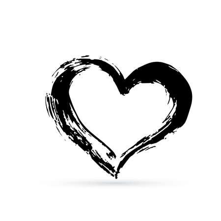 Coeur noyé à la main. Coup de pinceau texturé noir. Forme grunge de coeur. Signe de la Saint-Valentin. Symbole de l'amour. Élément vectoriel de conception facile à modifier.