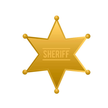Sheriff star isolated on white background. Gold police badge vector icon. Golden hexagonal star. Easy to edit template for your design.
