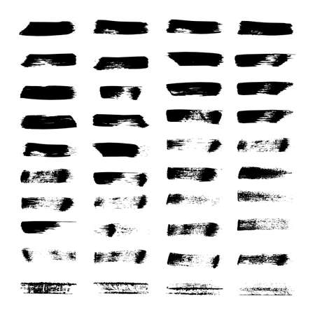 Hand drawn brush strokes. Set of 40 grunge ink brush shapes. Painted textured lines. Vector artistic brushes. Easy to edit isolated elements of design for your artworks.