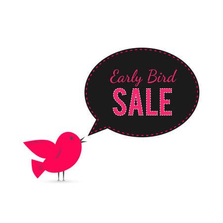 Early Bird sale banner. Cute cartoon bird with speech bubble. Special offer announcement advertising poster. Social media marketing. Vector illustration. Easy to edit template for your business.