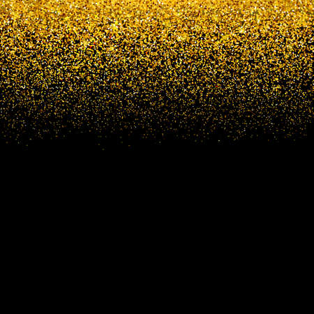Gold confetti on black background. Falling golden dots border. Glitter texture effect. Vector illustration. Easy to edit template for invitations, cards, party decorations, wedding stationery etc.