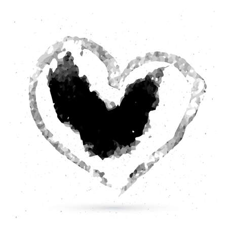 Hand drawn heart watercolor stains. Textured halftone brush stroke. Painted grunge heart shape. Valentine's day sign. Love symbol. Easy to edit vector element of design.