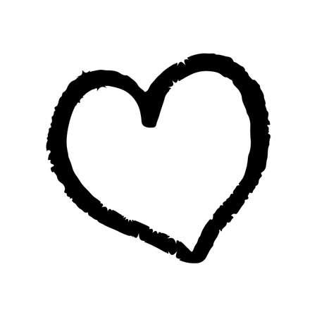 Hand drown heart on white background. Grunge shape of heart. Black textured brush stroke. Valentine's day sign. Love symbol. Easy to edit vector element of design.