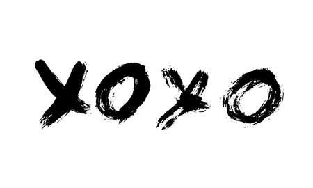 Frase escrita a mano XOXO aislada sobre fondo blanco. Signo de besos y abrazos. Letras de pincel grunge XO. Plantilla fácil de editar para tarjetas de felicitación del día de San Valentín, pancartas, carteles, volantes, postales.