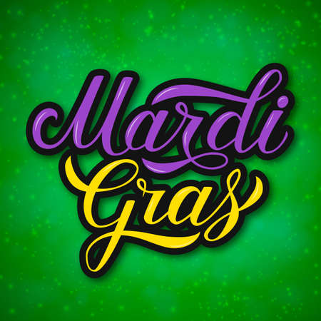 Mardi Gras colorful hand lettering on bright green background. Fat or Shrove Tuesday celebration poster. Traditional carnival in New Orleans. Vector template for banner, flyer, party invitation. Illustration