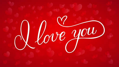 I love you calligraphy hand lettering on red background with hearts. Valentine's day postcard. Romantic typography poster. Vector illustration. Easy to edit template for greeting cards, banners, etc.