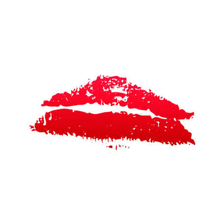 Red lipstick kiss on white background. Imprint of the lips. Kiss mark vector illustration. Valentines day theme print. Easy to edit template for greeting card, poster, banner, flyer, label, etc.