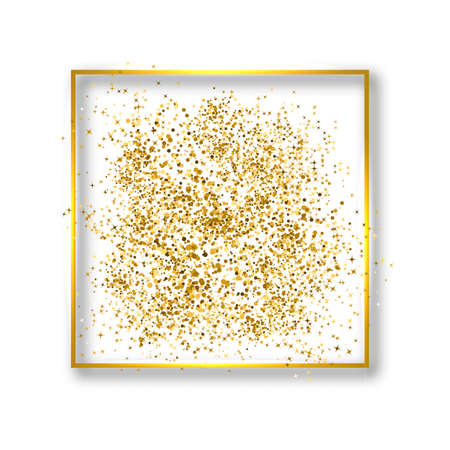 Gold confetti in a glowing square frame isolated on white. Luxury vector background. Golden dust effect. Easy to edit template for invitations, cards, party decorations, wedding stationery etc.