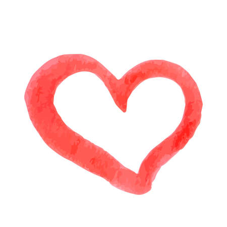 Hand painted red heart isolated on white. Watercolor or acrylic painting effect. Grunge heart vector illustration. Valentine's day greeting card. Easy to edit element of design for your artworks. Illustration