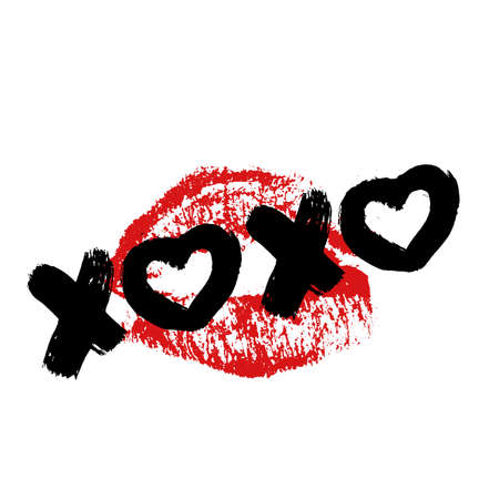 XOXO hand written phrase and red lipstick kiss isolated on white background. Hugs and kisses sign. Grunge brush lettering XO. Easy to edit template for Valentine's day greeting card, poster, banner.