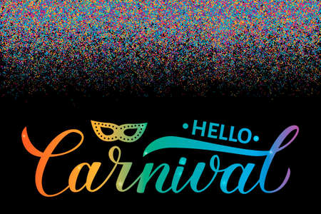 Carnival calligraphy lettering with colorful confetti. Masquerade party poster or invitation.Easy to edit template for carnival of Venice, Brazil, New Orleans, Oruro, Nice, etc. Vector illustration. Banque d'images - 117141892