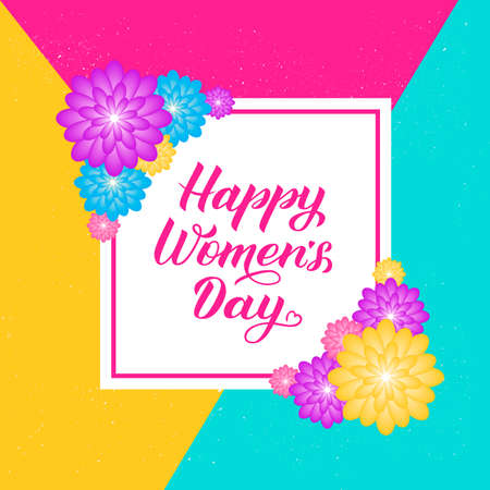 Happy Women's Day calligraphy lettering with colorful spring flowers. Origami paper cut style vector illustration. International womens day  poster, banner, party invitations,greeting cards, etc. Illustration