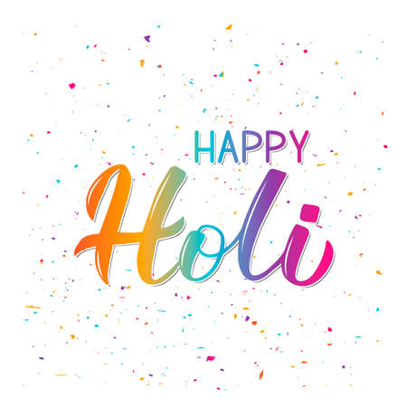 Happy Holi colorful 3d lettering . Indian Traditional festival of colors. Hindu spring celebration poster. Vector template for party invitations, banners, flyers, etc. Holi logo design.