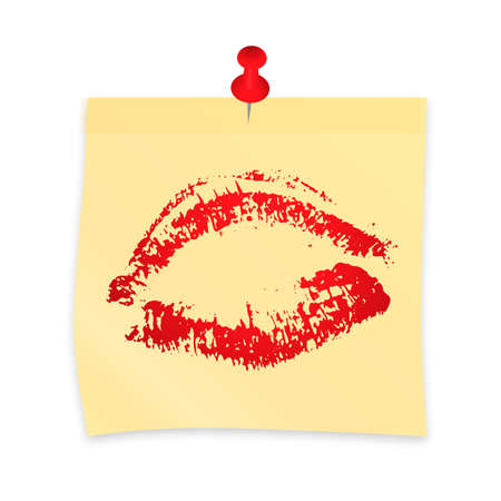 Lipstick kiss on yellow sticky note attached with pin. Realistic sticker and pushpin isolated on white. Red lipstick print. Sexy lips vector illustration. Easy to edit template for your artworks. Ilustração