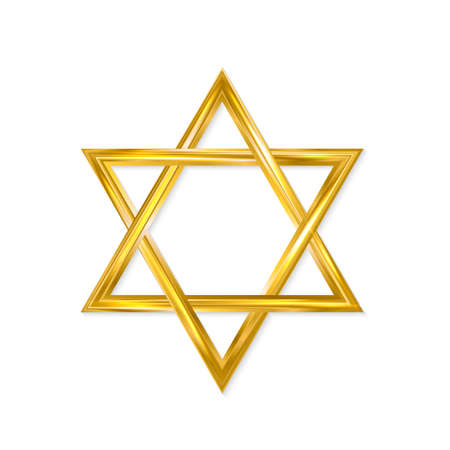 Jewish Star of David. Golden six-pointed star isolated on white background. 3d realistic hexagonal figure. Gold Magen David. Vector icon. Easy to edit template for jour designs.
