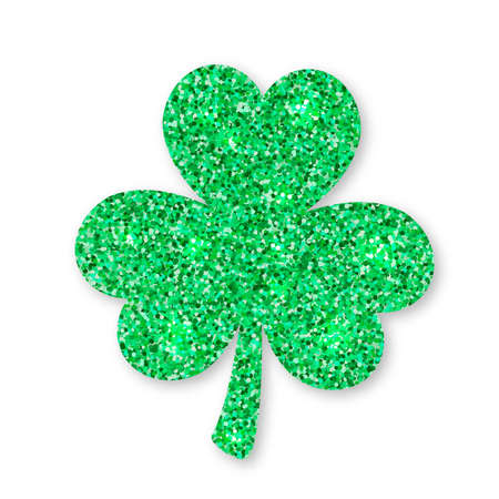 Shamrock  clover leaf made of green glitter isolated on white. Saint Patricks day symbol. Vector template for St. Patrick party invitation, banner, poster, greeting card, flyer, sticker, postcard.