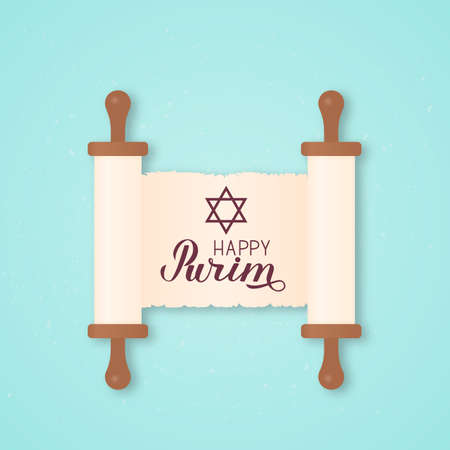 Happy Purim calligraphy lettering and star of David written on ancient scroll paper. Traditional Jewish carnival celebration poster. Vector template for party invitation, greeting card, banner, flyer.