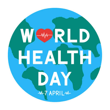 World Health Day lettering with red heart and heartbeat on globe. Medicine and healthcare typography poster. Vector illustration. Easy to edit template for greeting card, banner, sign, flyer, etc.
