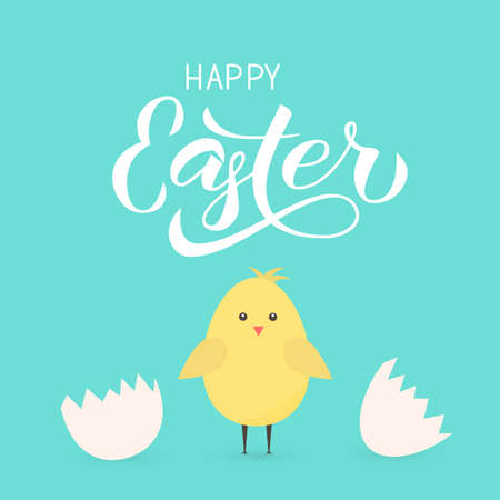 Happy Easter calligraphy hand lettering. Cute cartoon chicken hatched from eggs. Easter celebration greeting card. Easy to edit template for party invitation, poster, banner. Vector illustration.