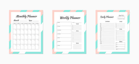 Daily,  weekly and monthly planner templates. Blank white, pink and mint,  green planner pages isolated on white. Business organizer page. Time-management concept. Stationery vector illustration.