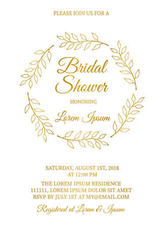 Gold bridal shower invitation card with hand drawn wreath of leaves. Vintage floral bridal party invite. Wedding stationery. Vector illustration. Easy to edit template for your design projects.