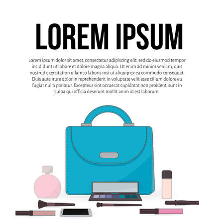 Purse, perfume, cosmetics and mobile phone. The contents of a womans handbag. Concept of beauty bloggers, fashion and glamour. Easy to edit vector design for social media, makeup artists card, etc. Illustration