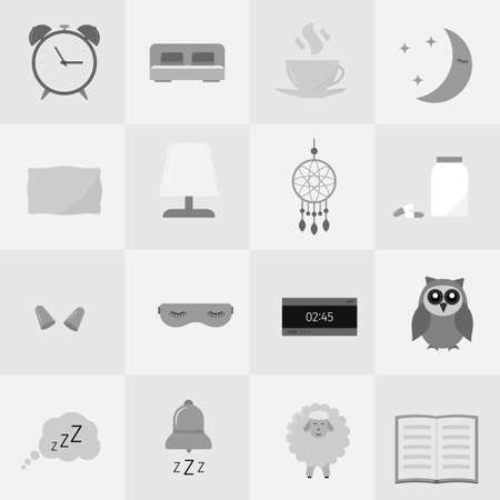 Sleep and Insomnia vector icon set. Sleep problems and sleeplessness concept. Alarm, bed, pillow, pills, dreamcatcher, earplug, sleeping mask, cup, owl, sheep flat objects.  Easy to edit template.