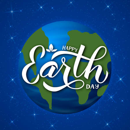 Happy Earth Day calligraphy hand lettering. Planet in space.  Easy to edit vector template for typography poster, banner, logo design, flyer, greeting card, brochure, etc.