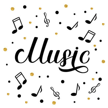 Music calligraphy hand lettering. Karaoke bar, Musical shop or record studio sign. Treble clef sheet music symbols. Vector illustration. Easy to edit template for banner, poster, flyer, etc.